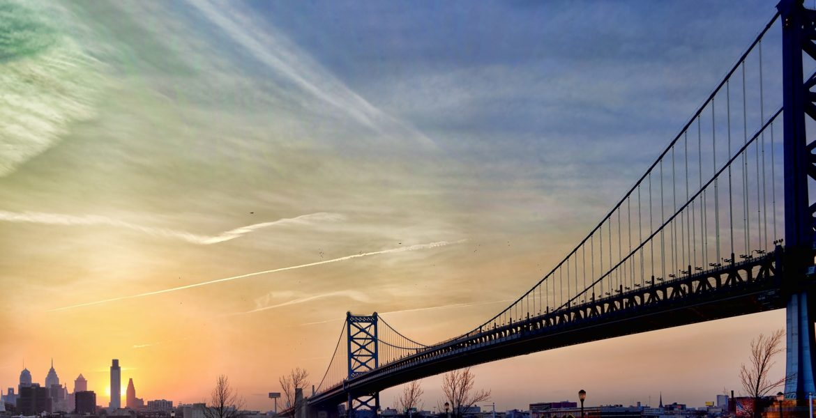 Ben Franklin Bridge from Camden, NJ